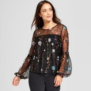 A New Day sheer embroidered top.